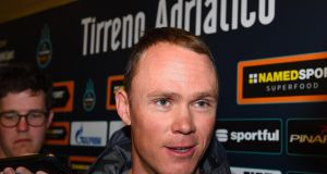 Chris Froome of Sky Team attending a press conference ahead of the Tirreno-Adriatico   race in  Italy. Photograph: EPA/Dario Belingheri