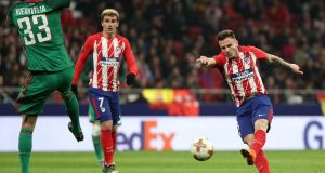 Atletico Madrid's Saul Niguez scores the first of his two goals in the  Europa League round of 16 first leg match against Lokomotiv Moscow at the  Wanda Metropolitano. Photograph: Sergio Perez/Reuters