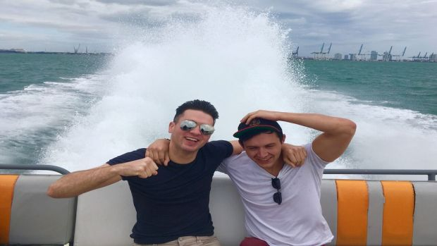 Hold on to your hats on the Thriller speedboat tour in Miami. Eamon Donoghue, left, on board with his friend Colin Brennan.