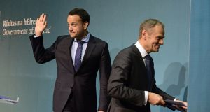 Taoiseach Leo Varadkar and European Council president Donald Tusk at Government Buildings this week. Photograph: Cyril Byrne