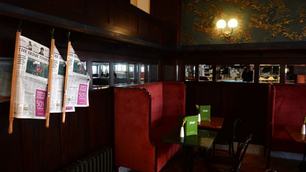 A little hideaway nook in the James Joyce room in Bewley's, Grafton Street, Dublin. Photograph: Dara Mac Dónaill/The Irish Times