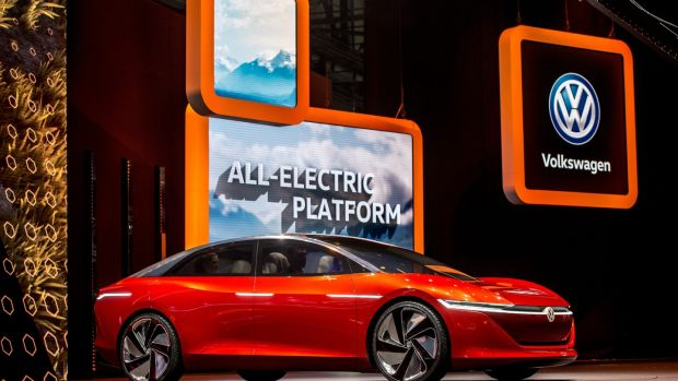 Volkswagen's new all-electric flagship ID Vizzion at the 88th Geneva International Motor Show on March 6th, 2018, in Switzerland. Photograph: Robert Hradil/Getty Images