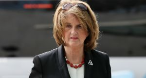 Former Tánaiste Joan Burton  arrives at  Dublin Circuit Criminal Court in May last year for  the trial of   men  who were charged with  falsely imprisoning  her and her adviser at a water charges protest in Jobstown in 2014. They were later acquitted. File photograph: Collins Courts
