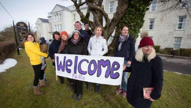 Locals prepare to welcome asylum seekers at the King Thomond Hotel, Lisdoonvarna, Co Clare. Photograph: Eamon Ward