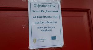 A sign stuck to the door of the King Thomond Hotel, Lisdoonvarna, Co Clare. Photograph: Eamon Ward