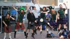 Scottish rugby fans at Dublin Airport this afternoon.  Photograph Nick Bradshaw