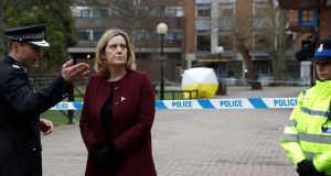 Britain's home secretary Amber Rudd visits the scene where Sergei Skripal and his daughter Yulia were found after having been poisoned by a nerve agent in Salisbury. Photograph: Reuters