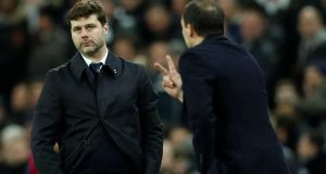 Tottenham manager Mauricio Pochettino and Juventus coach Massimiliano Allegri  during their Champions League last 16 encounter which resulted in the Italian side winning 4-3 on aggregrate. Photograph: John Sibley/Reueters
