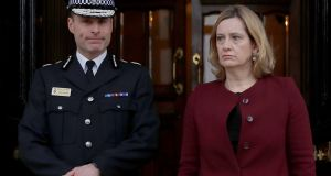 Home secretary Amber Rudd with temporary chief constable Kier Pritchard, at the Guildhall in Salisbury on Friday. Photograph: Peter Nicholls/Reuters