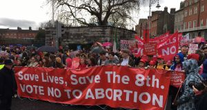 The Rally for Life beings its march at Parnell Square in Dublin. Photograph: Bryan O'Brien/The Irish Times