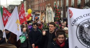 The Rally for Life beings its march at Parnell Square in Dublin. Photograph: Nic Bradshaw/The Irish Times.