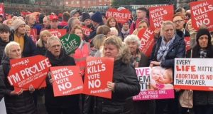 Participants in the 'Rally for Life' which took place in Dublin city centre on Saturday afternoon. Photograph: Nick Bradshaw.