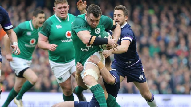 Ireland's Cian Healy is tackled by Scotland's Greig Laidlaw and Huw Jones. Photograph: Tom Honan/The Irish Times