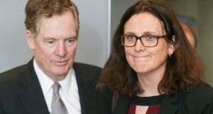 US trade representative Robert Lighthizer and European trade commissioner Cecilia Malmstrom. They met in  Brussels on Saturday. Photograph: Stephanie Lecocq/Reuters