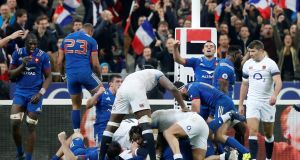 France players celebrate at the final whistle of the Six Nations match against England at Stade de France. Photograph: Regis Duvignau/Reuters