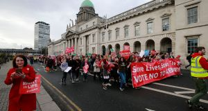 A view of the 'Rally for Life' march held in Dublin on Saturday. Photograph Nick Bradshaw