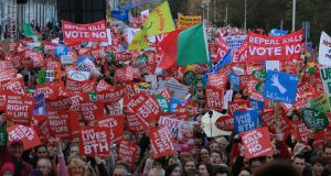 A view of the 'Rally for Life' march held in Dublin. Photograph: Nick Bradshaw