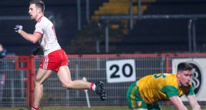 Tyrone's Niall Sludden celebrates his goal against Donegal in the Allianz Football League Division 1A match at  Healy Park in  Omagh. Photograph: Lorcan Doherty/Inpho