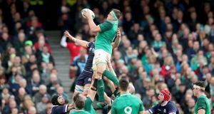 CJ Stander claims a lineout ball against Scotland at the Aviva Stadium.  Photograph: Bryan Keane/Inpho