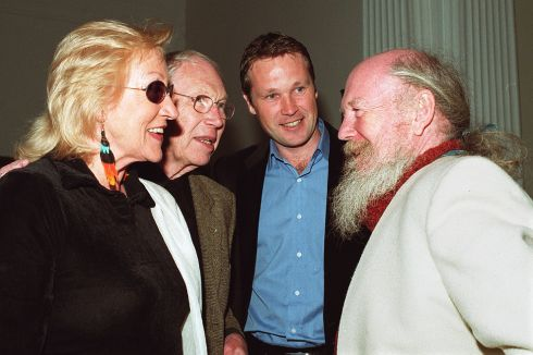 2000 Anne Madden, Louis le Brocquy, his son, Pierre and Garech Browne at the opening of the Francis Bacon Exhibition at the Municipal Gallery of Modern Art. Photograph:Cyril Byrne