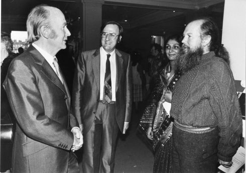 1982 - President Patrick Hillery with Lindsay Armstrong, member of the Board of the New Irish Chamber Orchestra, The Hon Garech Browne and his wife Purna at the National Concert Hall, Dublin, last night before the first of the John Field Bicentenary Concerts.  Photograph: Peter Thursfield/Irish Times