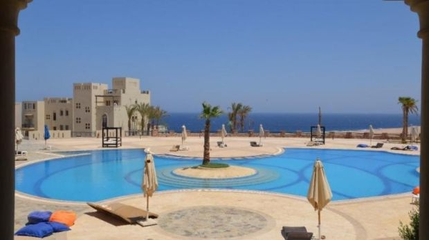 The Azzurra Sahl Hasheesh Suite Resort overlooks the Red Sea south of Ciaro, Egypt