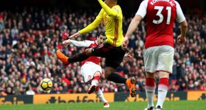 Henrikh Mkhitaryan  scores  Arsenal's third goal  goal during the Premier League match against  Watford at Emirates Stadium. Photograph: Julian Finney/Getty Images