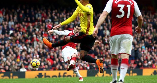 f28ff16483e Henrikh Mkhitaryan scores Arsenal s third goal goal during the Premier  League match against Watford at Emirates
