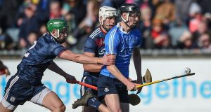 Ronan Hayes scored 2-4 in Dublin's win Laois at O'Moore Park. Photograph: Tommy Grealy/Inpho