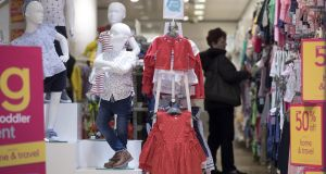 Children's clothing on sale inside a Mothercare store. Photograph: Jason Alden/Bloomberg