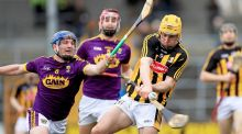 Kevin Foley of Wexford attempts to block Kilkenny's Richie Leahy during the Allianz Hurling League Division 1A match at Nowlan Park. Photograph: Donall Farmer/Inpho