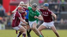 Limerick's Kyle Hayes jinks past Galways's Conor Whelan and Johnny Coen. Photograph: Laszlo Geczo/Inpho