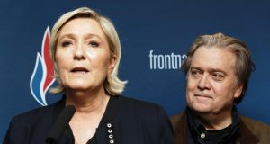 Front National  president Marine Le Pen and former  Trump advisor Steve Bannon give a joint press conference during the French far-right party's annual congress  in Lille, north of France. Photograph:  Sylvain Lefevre/Getty Images