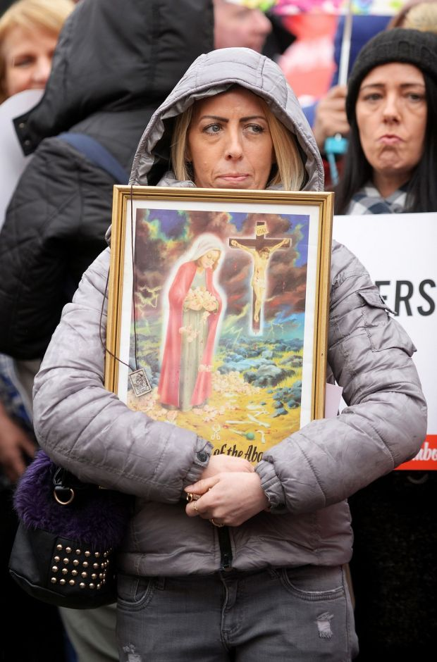A matter of faith: an anti-abortion protester makes her feelings known. Photograph: Caroline Quinn/PA