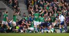 Ireland players celebrate after Sean Cronin scored their side's fourth try during the victory over  Scotland at the Aviva Stadium. Photograph:  Brendan Moran/Sportsfile via Getty Images