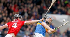 Tipperary's Jason Forde in action against  Colm Spillane of Cork in the Allianz Hurling League Division 1A game at  Semple Stadium. Photograph: Conor Wyse/Inpho