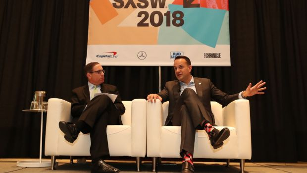 Taoiseach Leo Varadkar is interviewed by Evan Smith, CEO of Texas Tribune, at the SXSW festival in Austin, Texas. Photograph: Niall Carson/PA Wire