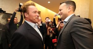 Trump that: Taoiseach Leo Varadkar meets Arnold Schwarzenegger in Austin, Texas, while in the city for the South by Southwest festival as part of his visit to the United States. Photograph: Niall Carson/PA Wire