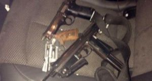 Three firearms – a sub-machine gun, a semi-automatic pistol and a revolver – were seized when gardaí ­ stopped a van on Gardiner Street in Dublin 1 at about 8am.