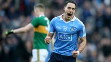 Dublin's Shane Carthy celebrates after Niall Scully scored their first goal against Kerry in the Division One clash at Croke Park. Photograph: Bryan Keane/Inpho