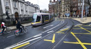 A Luas tram at College Green, Dublin. File photograph: Cyril Byrne