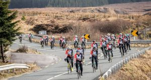 Cyclists taking part in the Ballyglass Coast Guard Rescue 116/Caitríona Lucas cycle from Dublin to Blacksod, Co Mayo, near Bellacorick, Co Mayo, on Sunday. Photograph: Keith Heneghan