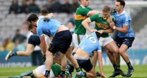 Tempers flare during the Dublin v Kerry Division One clash at Croke Park. Photograph: Bryan Keane/Inpho