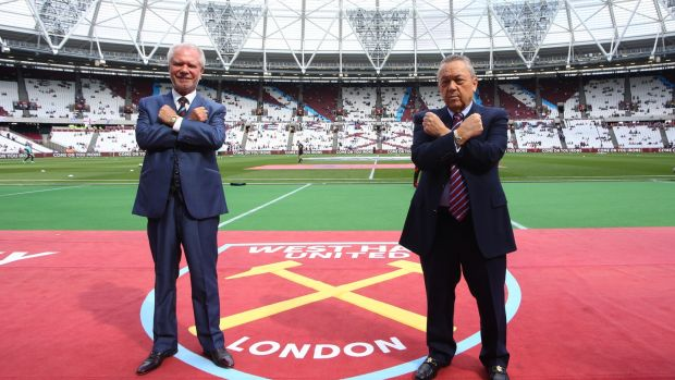 West Ham United owners David Gold and David Sullivan: seem determined that West Ham are now London rather than merely an East London club. Photograph: Catherine Ivill/AMA/Getty Images