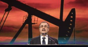Amin Nasser, chief executive officer of Saudi Arabian Oil Co. (Aramco), speaks at an energy market conference in Houston, Texas last week. A planned stock market flotation of Aramco now looks likely to be delayed until 2019 at least.  Photograph:  Carter Smith/Bloomberg