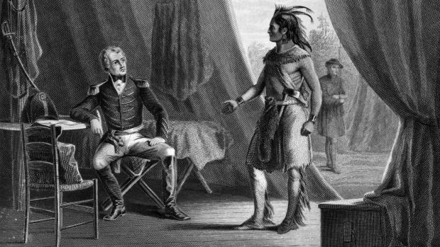 1814: William Weatherford, also known as Chief Red Eagle, surrenders to future Us president Andrew Jackson (1767 - 1845), after the Creek Indians were defeated at the Battle of Horseshoe Bend in Alabama. Many Choctaw fought with Jackson. (Photo by MPI/Getty Images)