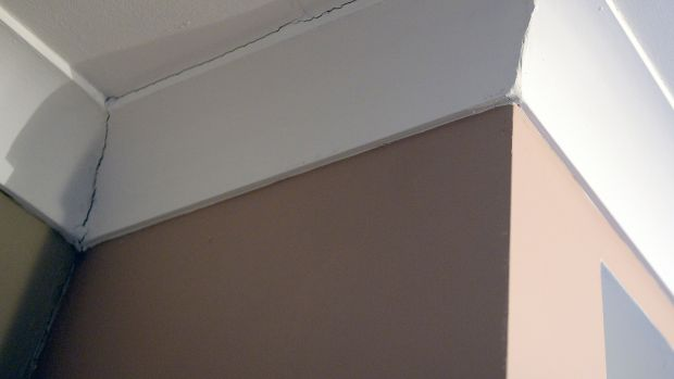 An example of cracks in the plaster in the living room of Tara Devon's house. Photograph: Eric Luke / The Irish Times