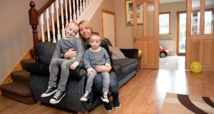 Tara Devon and her two children Ryan (6) and Kian (3) at their home in Ashbourne in January 2017. Photograph: Eric Luke/The Irish Times
