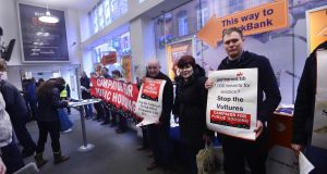 A protest at Permanent TSB on Grafton Street to highlight the proposed sale of distressed mortgages to vulture funds. Photograph: Cyril Byrne / THE IRISH TIMES