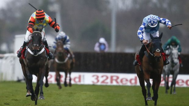 Might Bite holds off Double Shuffle in the King George. Photograph: Alan Crowhurst/Getty